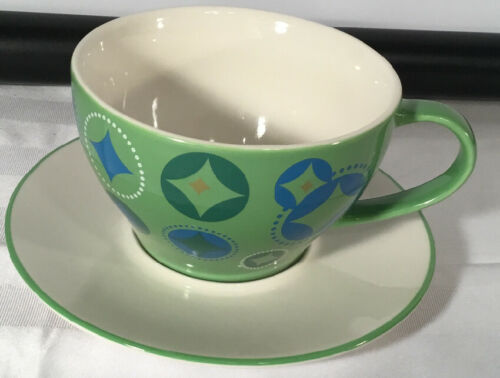 Starbucks Coffee HOLIDAY 2006 12oz Cup & Saucer Set 2Pc Green Blue Stocking image 6