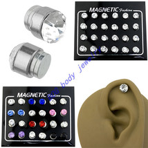 24 Pieces Magnetic Round Rhinestone Stud Earring Men Women Non-piercing Clip On  - $13.54
