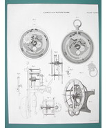 CLOCK Work & Repeating Equation Watch - c. 1835 Fine Quality Antique Print - $19.09