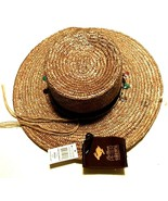 "Peter Grimm Headwear 100% Straw Brown Band Golf Summer Round Hat 7"" One ... - $34.64"