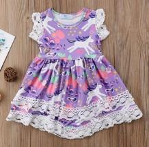 NWT Unicorn Girls Purple Short Sleeve Ruffle Lace Dress 18 M 2T 3T 4T 5T - $12.99