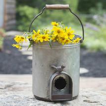 GARDEN DECOR  BUCKET FLOWER POT PLANTER & BIRD HOUSE -7.5'' X 8''H. - $58.41