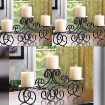 "3 Tuscan Scroll Candelabra Large 17"" Pillar Candle Holder Table Centerpi... - $32.64"