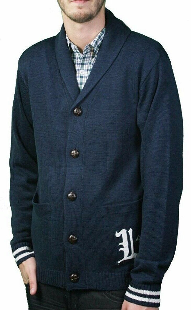 LRG Mens Bulwarks Navy Cardigan Knit English L Lifted Trees Sweater NWT