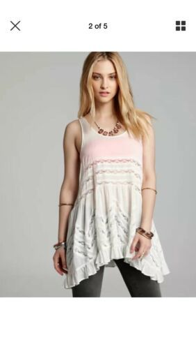 Free People Voile Trapeze Lace Slip Dress XS Fit S Polka Dot Swing Beach