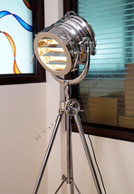 LARGE HOLLYWOOD CHROME Nautical Tripod Floor Lamp modern search light RR... - $481.13