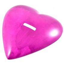 SMOLArt Hand Carved Soapstone Pink Fuchsia Heart Shaped Soap Dish Trinket Bowl image 2