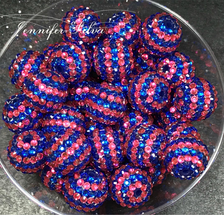 Blue and Pink Striped Rhinestone Chunky Bubblegum Beads 20mm
