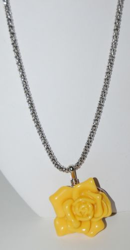 Orange Rose Necklace Silver Color Snake Chain Lobster Claw Clasp With Extender