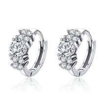 925 Sterling Silver Crystal Round Circle Clear Cubic Zircon Hoop Earring... - $21.73