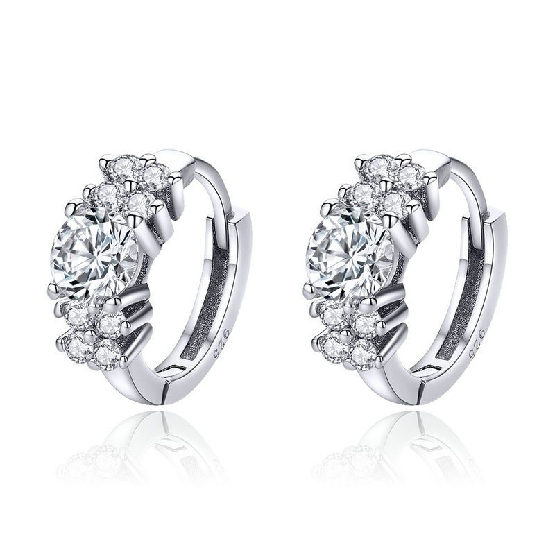 Primary image for 925 Sterling Silver Crystal Round Circle Clear Cubic Zircon Hoop Earrings for Wo