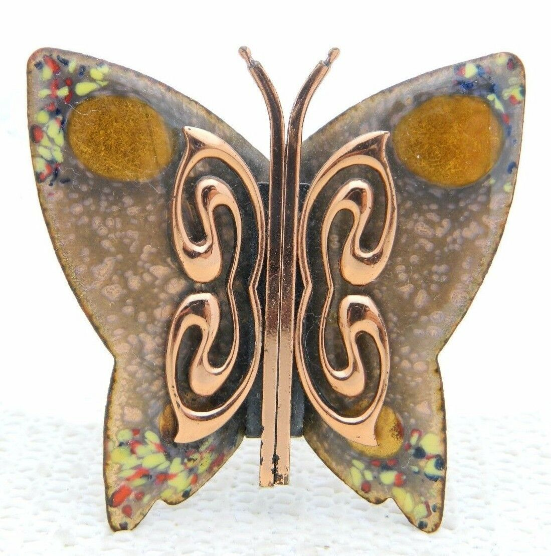 Primary image for VTG MATISSE RENOIR Signed Yellow Peach Enamel Copper Butterfly Brooch Pin B