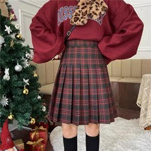 Lady Classic Wine Red Plaid Skirt Plus Size Pleated Plaid Skirt Christmas Outfit image 1