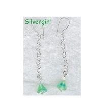 Blue Green Tulip Lampwork Dangle Earrings SS - $9.99