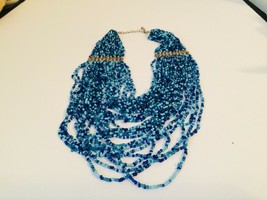 Vintage Shades of Blue 30 Strand Seed Bead Necklace  - $14.02