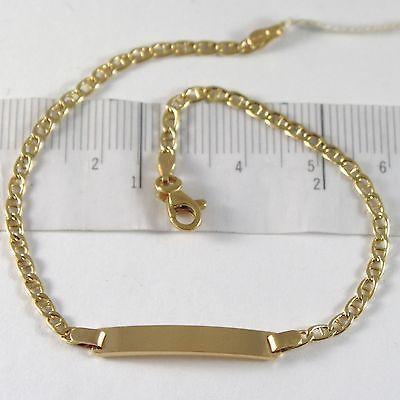 Bracelet en or Jaune 750 18K, Jersey Marine Et Plaque Pour Gravure, 19 CM
