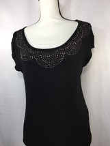 ellen tracy women Black Blouse S Stretch Thin Soft Material Bedazzle Embroidered - $14.96