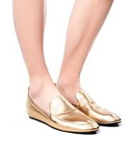 New Lanvin Gold  Leather Scrunch Flats Shoe Loafers  Ballerina Ballet 38.5 - $283.00