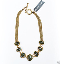 """Ellen Tracy Goldtone Toggle Necklace Signed Semi-Precious 16"""" MSRP $62.00 New - $24.99"""