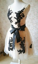 Elegant Ivory LACE Embroidery Knee Length Formal Cocktail Dress Bridesmaid Dress image 3