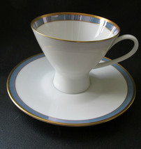 """Rosenthal Gala Blue CLASSIC ROSE Footed Cup & Saucer 3"""" Tall  Loewy Mid ... - $21.77"""