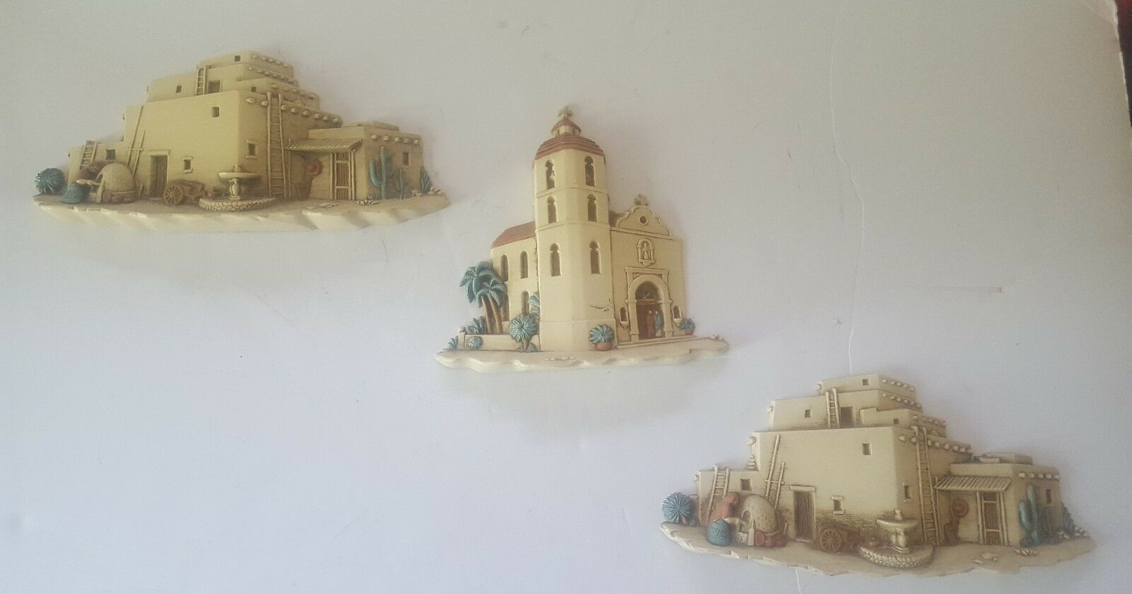 Homco Southwest Mission Adobe Houses Church Wall Decor Set of 3 Burwood Products