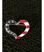 Vintage Gold tone american flag heart BROOCH Pin vintage jewelry - $3.95