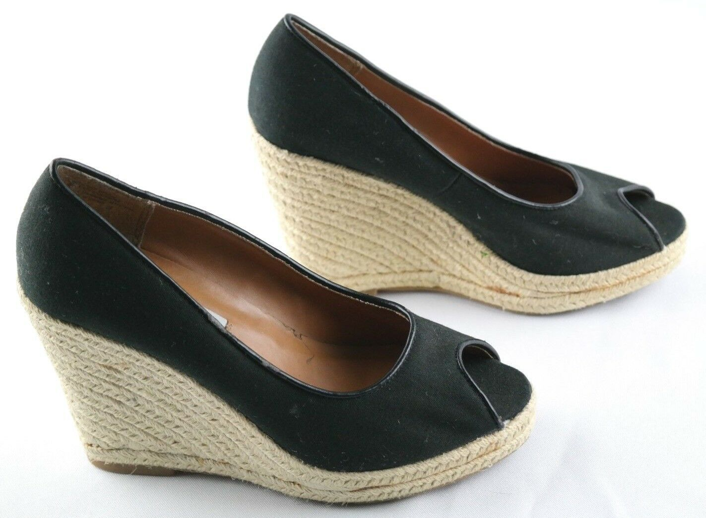 Steve Madden Peep Wedges Womens Size 6 Black Canvas Slip On High Heel Shoes