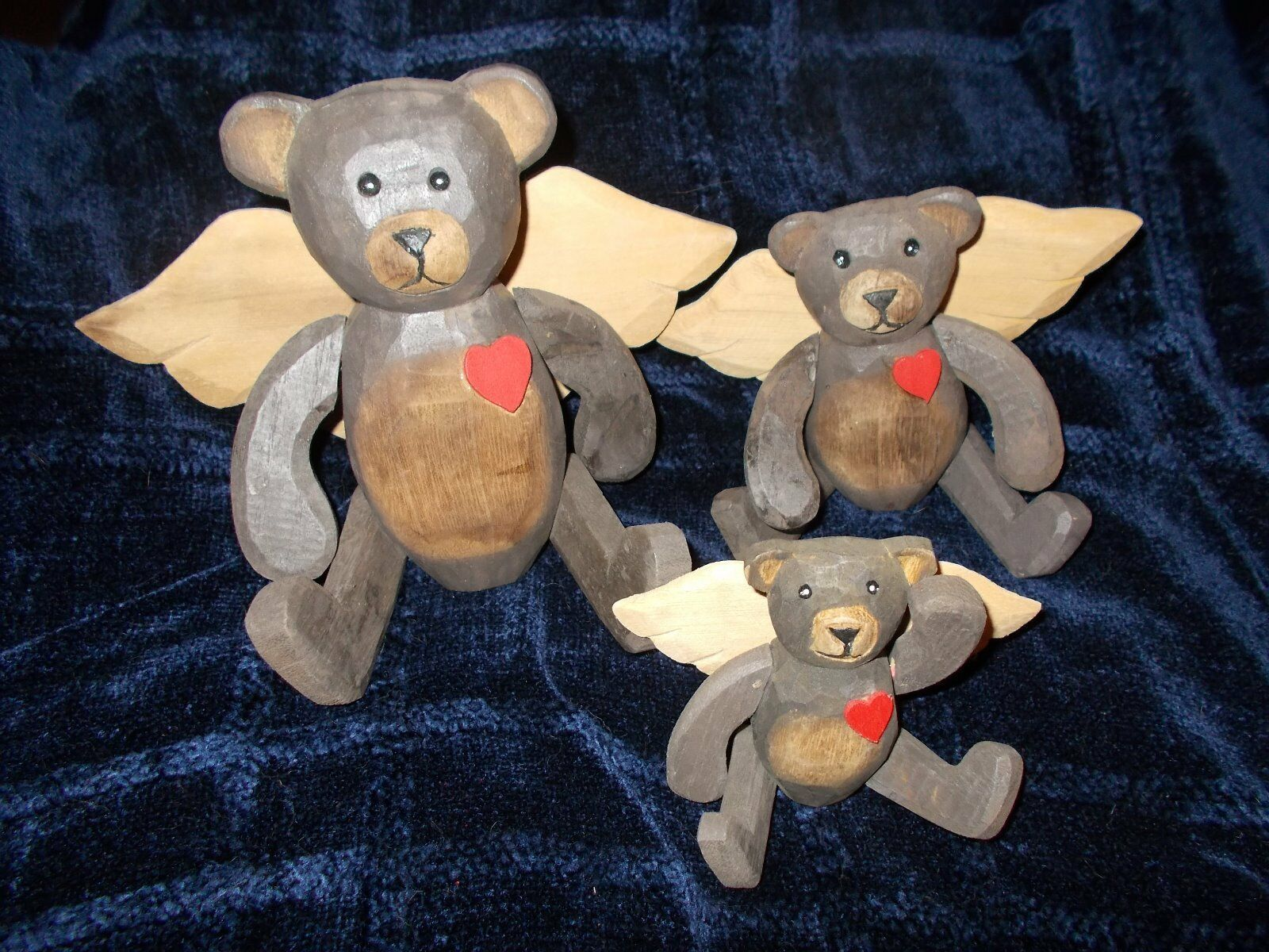 3 WOOD TEDDY BEAR ANGEL W/ WINGS RUSTIC,COUNTRY,MOVABLE ARMS AND LEGS