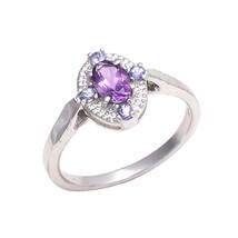 AMETHYST & TANZANITE GEMSTONE 925 Sterling Silver Ring 6.5 US OVAL 6*4 MM - £19.54 GBP