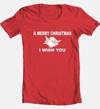 Yoda Wish You A Merry Christmas T-shirt 100% cotton red graphic tee image 1