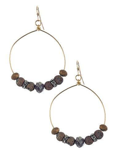 Stone and Bead Wire Dangle Earrings (Brown)
