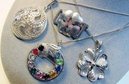 4 PC Lot STERLING SILVER Vintage Pendant Necklaces Pins Forstner Van Del... - $49.50