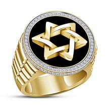 White Diamond Halo Star Engagement Mens Band Ring 14k Yellow Gold Finish... - $182.99