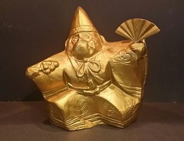 """Chinese Buddhism Gilded Metal Monkey King Statue with Fan - 7"""" high - $99.00"""