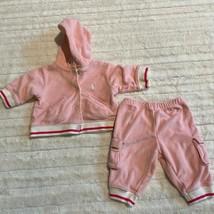 Ralph Lauren Girls Terry Sweat Suit Size 3 Months Light Pink Jogger Hoodie - $12.34