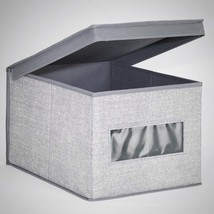 Storage Box Organizer Container Drawer Fabric Basket Cube Stackable Lid ... - $19.28