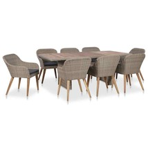 vidaXL 9 Piece Outdoor Dining Set with Cushions Poly Rattan Patio Furniture - $827.99