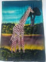 Giraffe Batik Fabric Art Handmade Savannah Africa Ethnic Sunset Painting... - $28.04