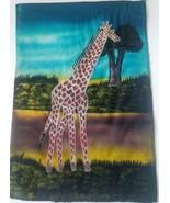 Giraffe Batik Fabric Art Handmade Savannah Africa Ethnic Sunset Painting Signed - $28.04
