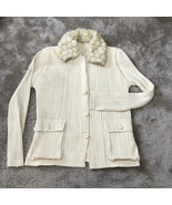 ISSEY MIYAKE PLEATS PLEASE Ladies Thin Fur Coat Off White Color Used - $780.99