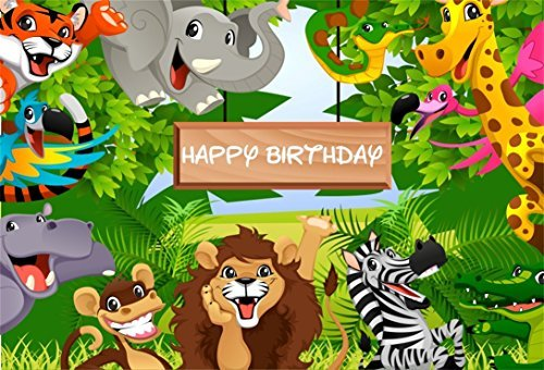 Leyiyi 5x3ft Kids Happy Birthday Backdrop Cartoon Zoo
