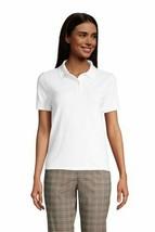 Lands' End Women's Mesh Cotton Short Slv Polo Shirt White M NEW 507685 - $24.73