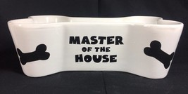 Cute Master of the House Large Bone 3D Shaped Dog Food Water Bowl - $18.49