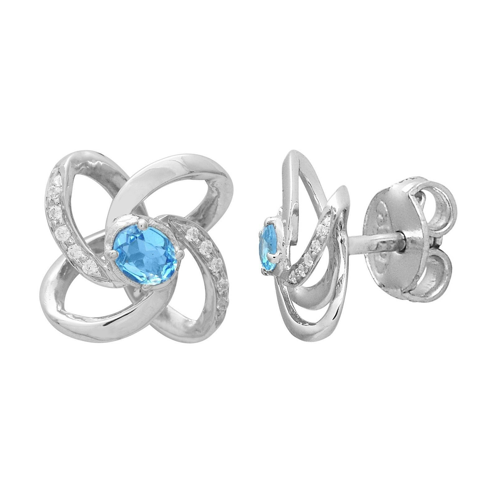 Love Infinity Knot Stud Earring Blue Topaz With CZ 925 Sterling Silver Jewelry