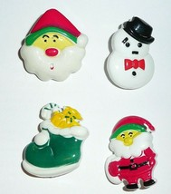 Cute Christmas Themed Realistic Nylon Buttons - Santa Snowman Stocking 1... - $3.79