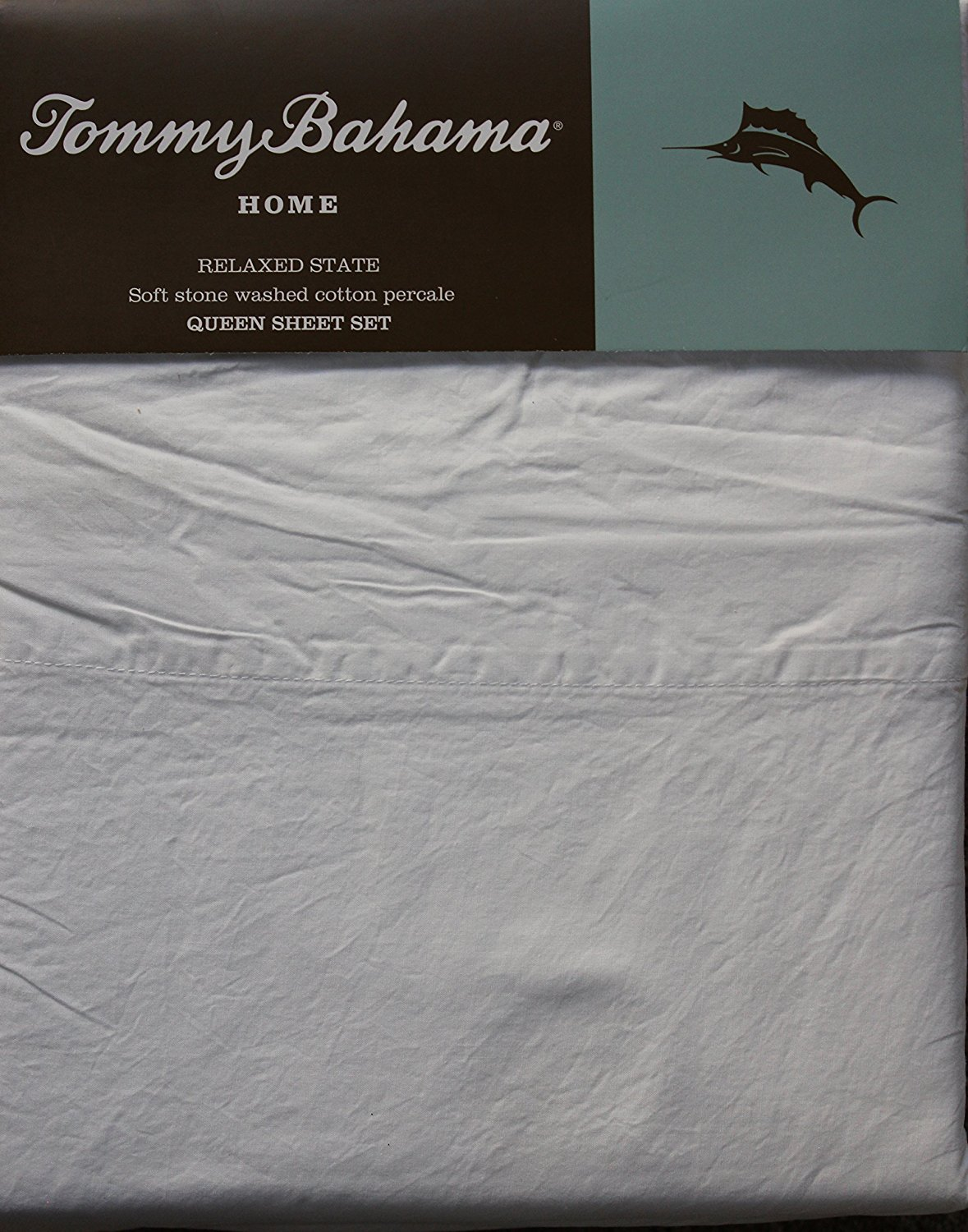 Tommy Bahama Relaxed State Stone Washed White Cotton Percale Sheet Set Queen