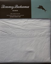 Tommy Bahama Relaxed State Stone Washed White Cotton Percale Sheet Set Q... - $82.00