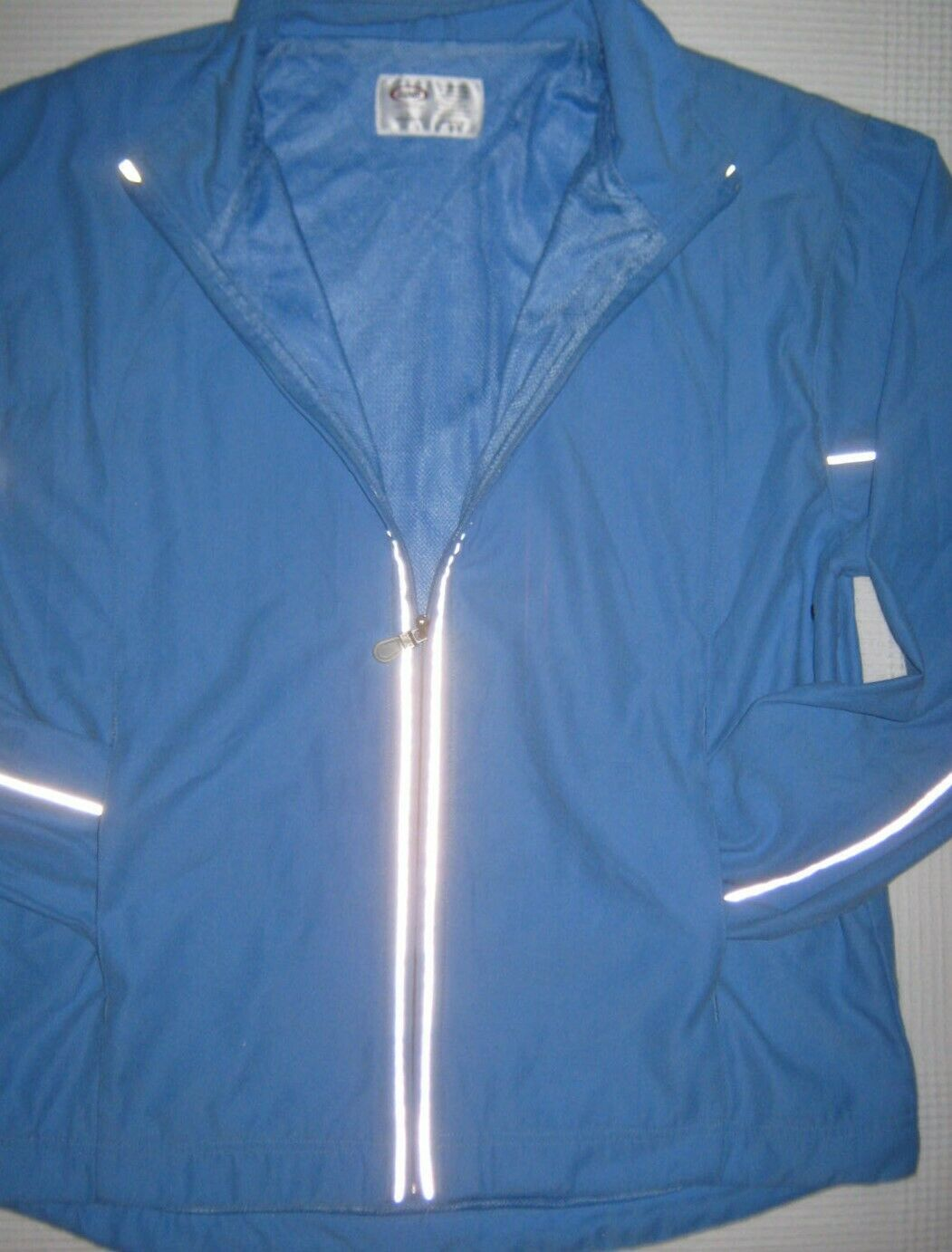 BIKE Jacket Zip Front Reflective Stripe Pockets Stand Collar Track Mesh Lined L