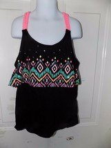 Justice Black Layered Tank Top W/ Braided Straps  Size 14 Girl's EUC - $18.69